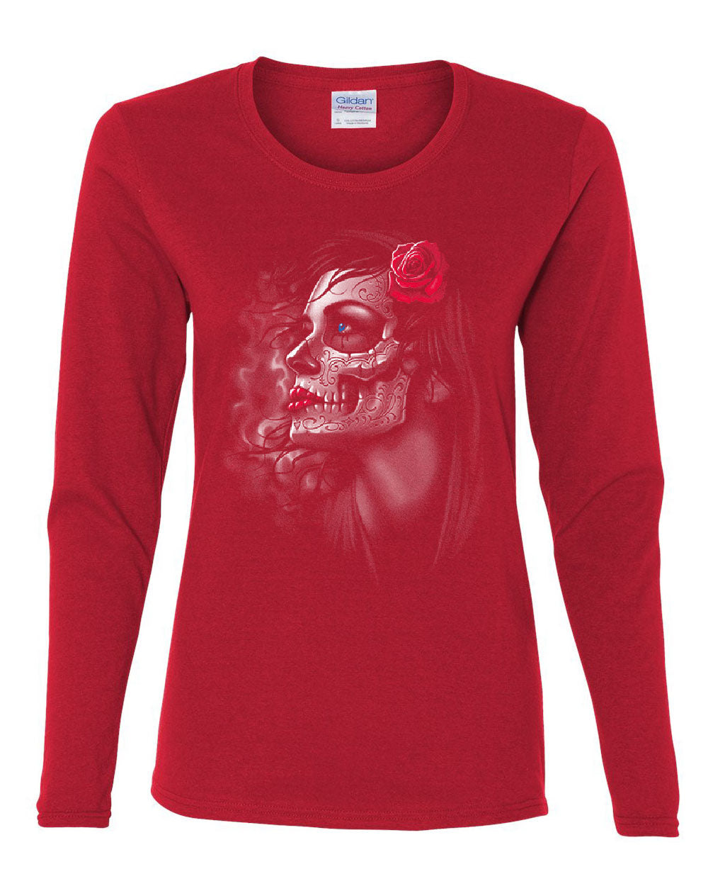 f1245f072c9bb Day of the Dead Girl Women's Long Sleeve Tee Skull Face Dia de Los ...