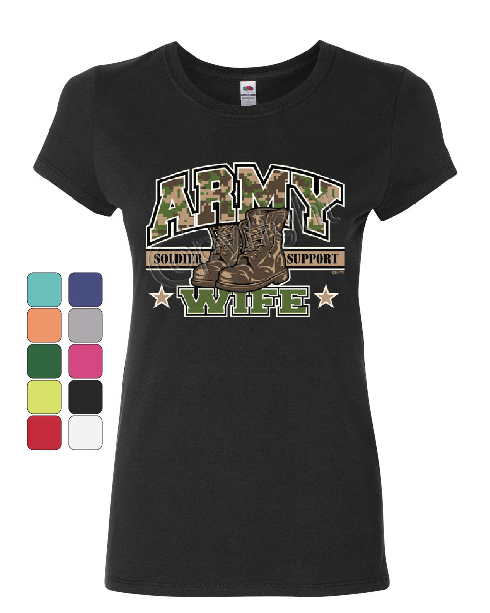 Army Wife Women/'s T-Shirt Wifey Soldier Support Our Troops Patriotic Shirt