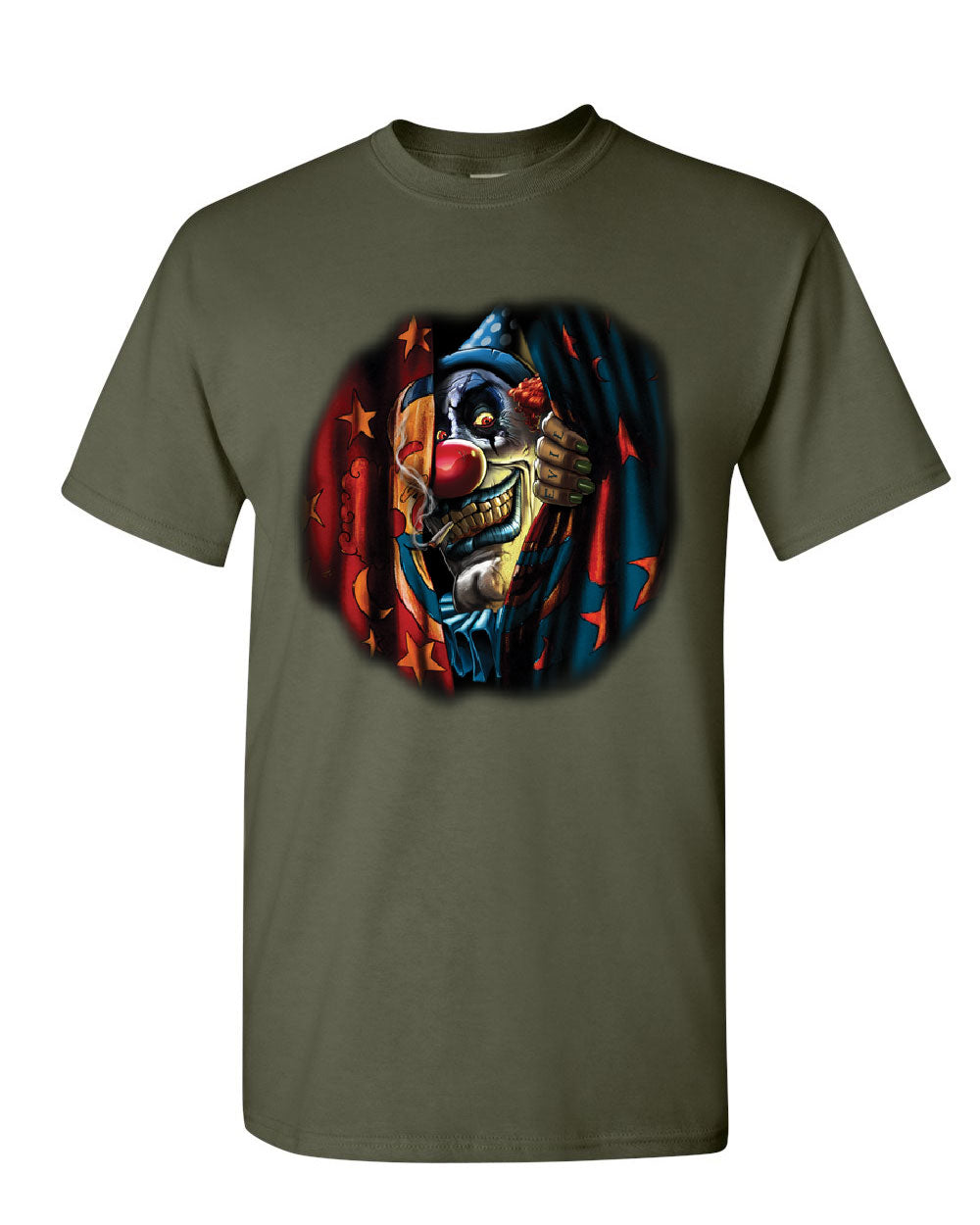 Scary Circus Clown T Shirt Insane Creepy Clown Evil Mad Horror Mens