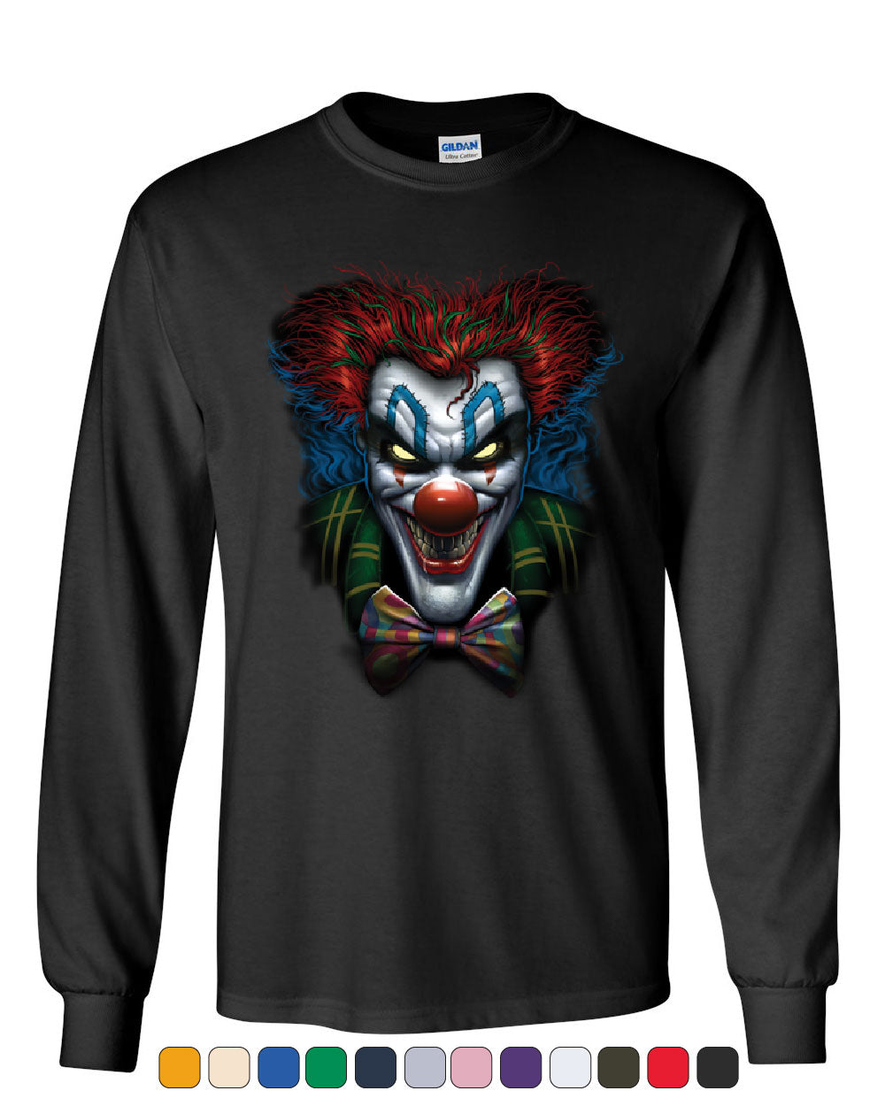 17e834ba Psycho Clown Long Sleeve T-Shirt Nightmare Evil Creepy Scary Horror Fobia  Tee