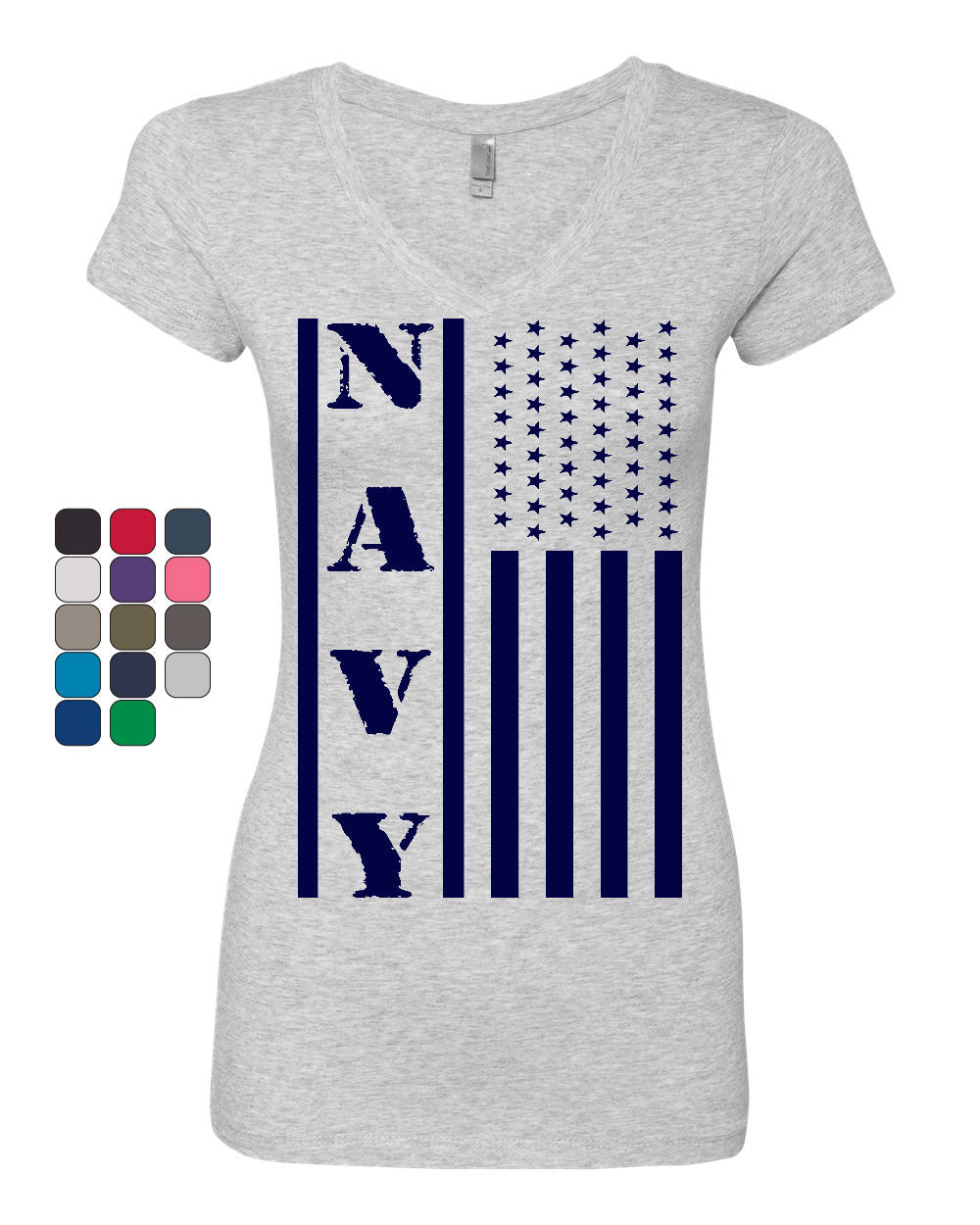 Navy American Flag Women/'s V-Neck T-Shirt Patriotic Stars and Stripes Military