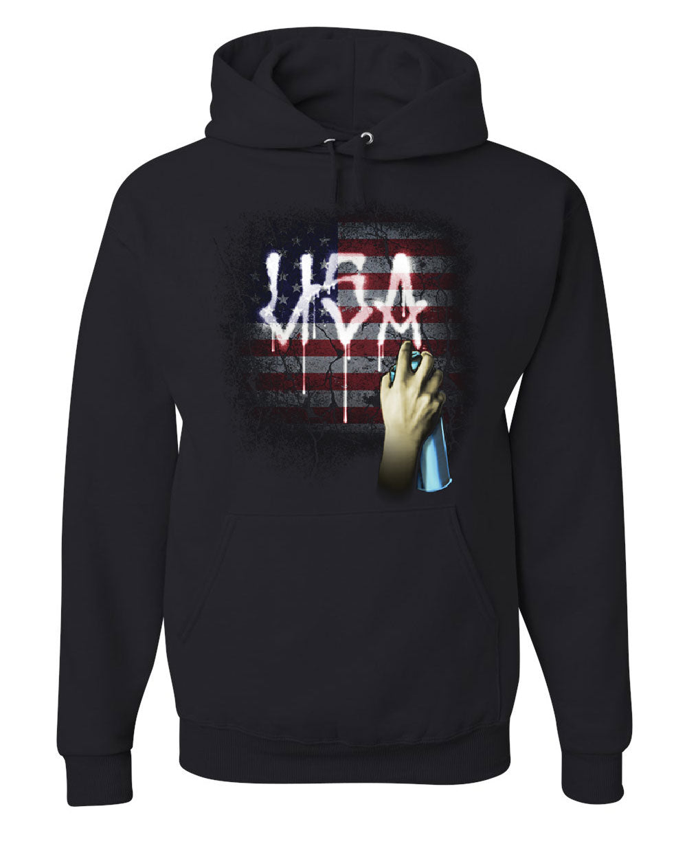 Usa Flag Graffiti Hoodie Stars And Stripes Urban Tag Wall Spray Sweatshirt