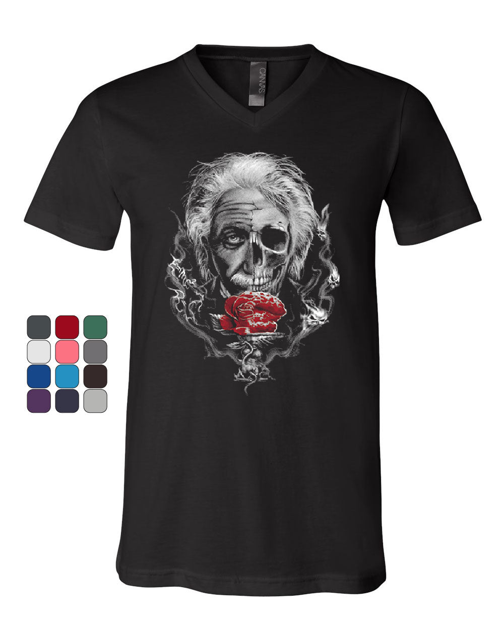 a64d3ab4fa53 Albert Einstein Skull Face V-Neck T-Shirt Urban Rose Genius Scientist Tee
