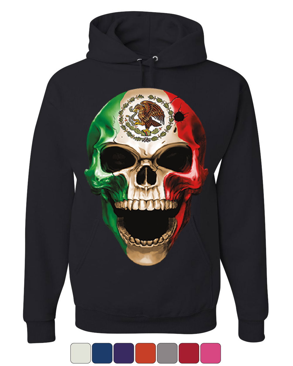 Skull Face Mexican Pride Hoodie Mexico Ethnic Golden Eagle Flag