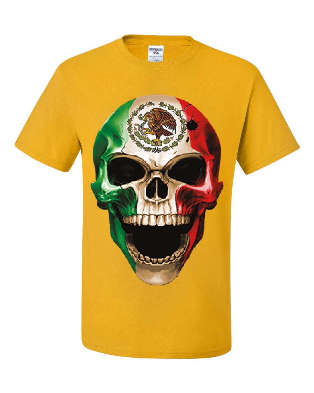 Skull Face Mexican Pride T Shirt Mexico Ethnic Golden Eagle Flag Tee