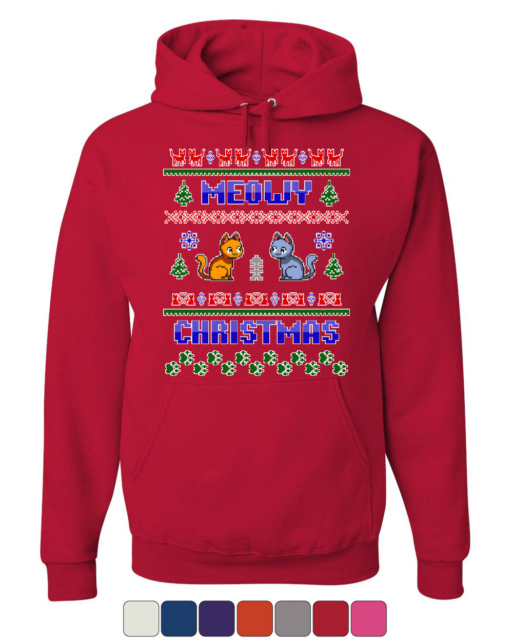 Meowy Christmas Sweater.Details About Meowy Christmas Ugly Sweater Hoodie Cat Kitten Purr Merry Xmas Sweatshirt