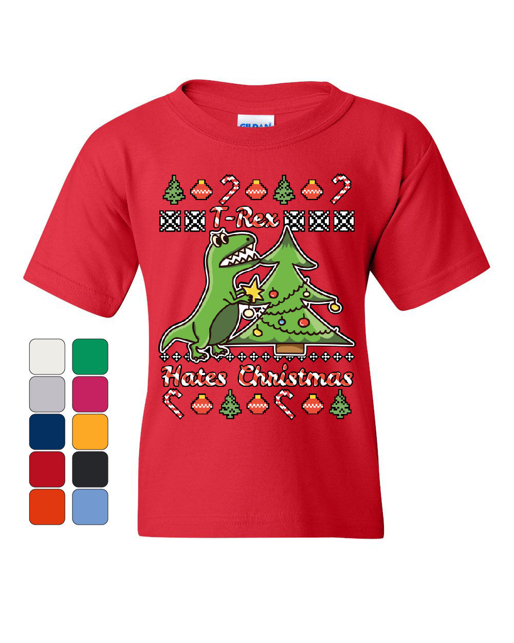 T-Rex Hates Christmas Youth T-Shirt Funny Xmas Ugly Sweater Dinosaur Kids Tee