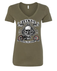 Lucky 7 Bikes Booze Broads V-Neck T-Shirt Live To Ride Route 66 - Tee Hunt - 9