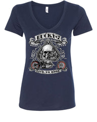 Lucky 7 Bikes Booze Broads V-Neck T-Shirt Live To Ride Route 66 - Tee Hunt - 12