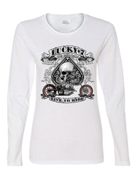 Lucky 7 Bikes Booze Broads Long Sleeve T-Shirt Live To Ride Route 66 - Tee Hunt - 3