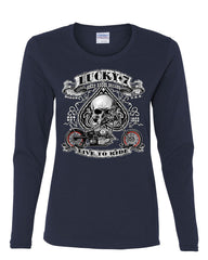 Lucky 7 Bikes Booze Broads Long Sleeve T-Shirt Live To Ride Route 66 - Tee Hunt - 7