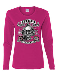 Lucky 7 Bikes Booze Broads Long Sleeve T-Shirt Live To Ride Route 66 - Tee Hunt - 8
