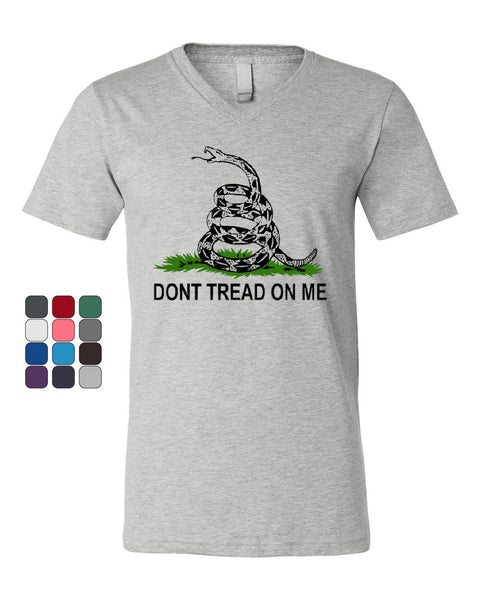 Don't Tread On Me V-Neck T-Shirt Gadsden Flag Rattle Snake Tee - Tee Hunt - 1