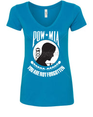 POW MIA You Are Not Forgotten V-Neck T-Shirt Patriotic - Tee Hunt - 5