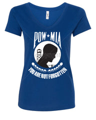 POW MIA You Are Not Forgotten V-Neck T-Shirt Patriotic - Tee Hunt - 4