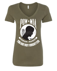 POW MIA You Are Not Forgotten V-Neck T-Shirt Patriotic - Tee Hunt - 8