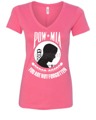 POW MIA You Are Not Forgotten V-Neck T-Shirt Patriotic - Tee Hunt - 6