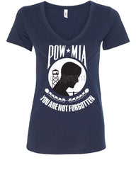 POW MIA You Are Not Forgotten V-Neck T-Shirt Patriotic - Tee Hunt - 11