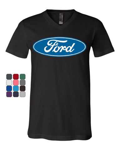 Licensed Ford Logo V-Neck T-Shirt Truck Mustang F150 Muscle Car Tee - Tee Hunt - 1