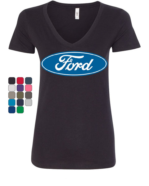 Licensed Ford Logo V-Neck T-Shirt Truck Mustang F150 Muscle Car - Tee Hunt - 1
