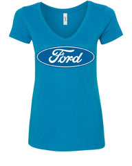 Licensed Ford Logo V-Neck T-Shirt Truck Mustang F150 Muscle Car - Tee Hunt - 5