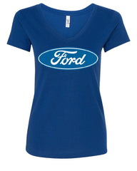 Licensed Ford Logo V-Neck T-Shirt Truck Mustang F150 Muscle Car - Tee Hunt - 4
