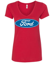 Licensed Ford Logo V-Neck T-Shirt Truck Mustang F150 Muscle Car - Tee Hunt - 3