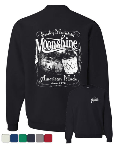 Smoky Mountain Moonshine Crew Neck Sweatshirt Tennessee Whiskey - Tee Hunt - 1