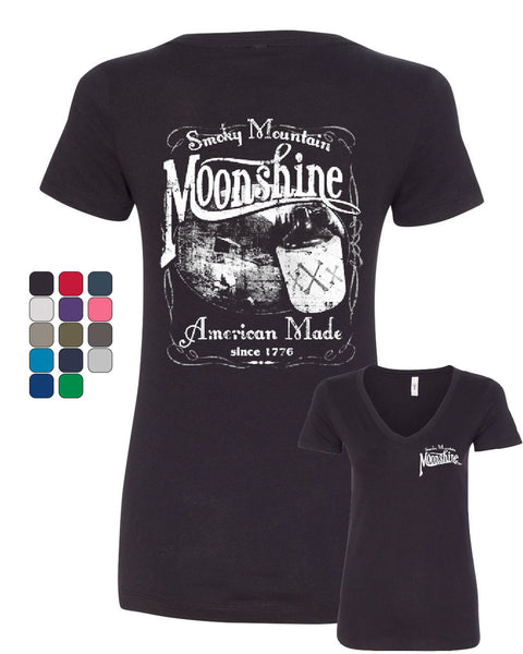 Smoky Mountain Moonshine V-Neck T-Shirt Tennessee Whiskey - Tee Hunt - 1