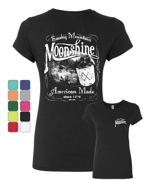 Smoky Mountain Moonshine Cotton T-Shirt Tennessee Whiskey - Tee Hunt - 1