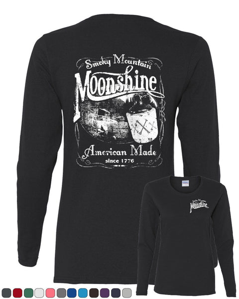 Smoky Mountain Moonshine Long Sleeve T-Shirt Tennessee Whiskey - Tee Hunt - 1
