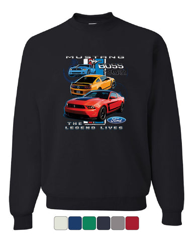 Ford Mustang The Legend Lives Hooded Crew Neck Sweatshirt 0 - Tee Hunt - 1