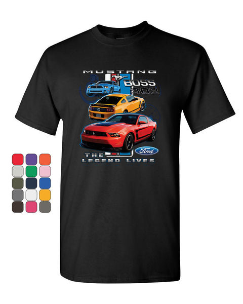 Ford Mustang The Legend Lives Hooded T-Shirt 0 Tee Shirt - Tee Hunt - 1