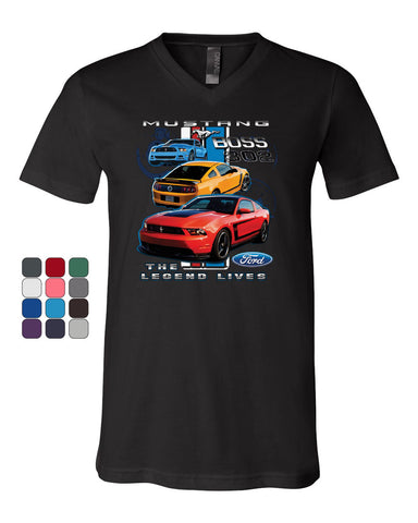 Ford Mustang The Legend Lives Hooded V-Neck T-Shirt 0 Tee - Tee Hunt - 1