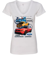 Ford Mustang The Legend Lives Hooded V-Neck T-Shirt 0 - Tee Hunt - 8
