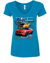 Ford Mustang The Legend Lives Hooded V-Neck T-Shirt 0 - Tee Hunt - 5