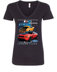 Ford Mustang The Legend Lives Hooded V-Neck T-Shirt 0 - Tee Hunt - 2