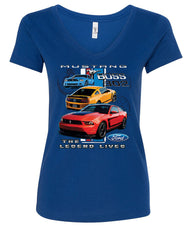 Ford Mustang The Legend Lives Hooded V-Neck T-Shirt 0 - Tee Hunt - 4