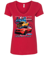 Ford Mustang The Legend Lives Hooded V-Neck T-Shirt 0 - Tee Hunt - 3