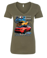 Ford Mustang The Legend Lives Hooded V-Neck T-Shirt 0 - Tee Hunt - 9