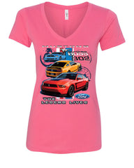 Ford Mustang The Legend Lives Hooded V-Neck T-Shirt 0 - Tee Hunt - 6