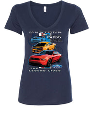 Ford Mustang The Legend Lives Hooded V-Neck T-Shirt 0 - Tee Hunt - 12