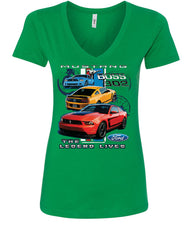 Ford Mustang The Legend Lives Hooded V-Neck T-Shirt 0 - Tee Hunt - 10
