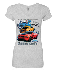 Ford Mustang The Legend Lives Hooded V-Neck T-Shirt 0 - Tee Hunt - 7
