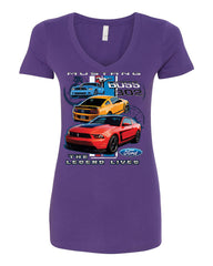 Ford Mustang The Legend Lives Hooded V-Neck T-Shirt 0 - Tee Hunt - 11