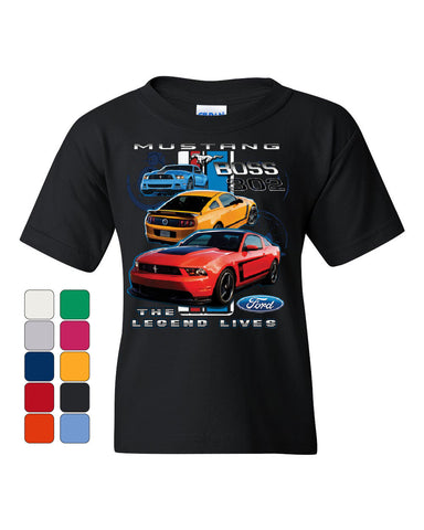 Ford Mustang The Legend Lives Hooded Youth T-Shirt 0 Tee - Tee Hunt - 1