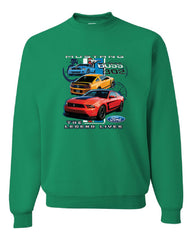 Ford Mustang The Legend Lives Hooded Crew Neck Sweatshirt 0 - Tee Hunt - 3