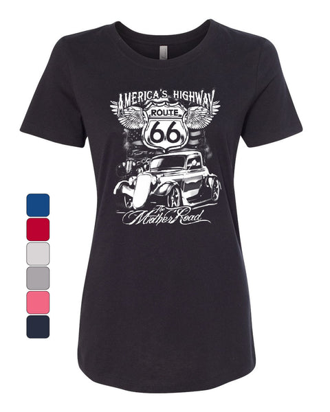 Route 66 America's Highway Women's T-Shirt The Mother Road Tee - Tee Hunt - 1