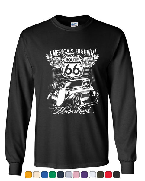Route 66 America's Highway Long Sleeve T-Shirt The Mother Road - Tee Hunt - 1