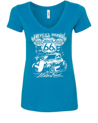 Route 66 America's Highway V-Neck T-Shirt The Mother Road - Tee Hunt - 5